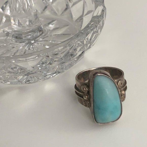 Vintage Larimar sterling silver ring size 6.5